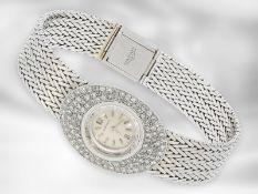 Armbanduhr: edle, weißgoldene vintage Damenuhr von Longines mit Diamantbesatz, ca. 1,2ct, 18K