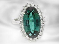 Ring: ausgesprochen schöner vintage Brillant/Turmalin-Goldschmiedering, ca. 10,6ct, Handarbeit aus