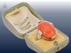 Ring: vintage Goldschmiedering mit außergewöhnlich großem Korallen-Cabochon Ca. Ø18mm, RG57, ca.