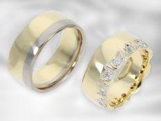 Ring: 2 unikate Goldschmiederinge, 1 Gelbgoldring mit Brillanten, 1 Bicolorring, 14K Gold,