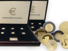 Münzen: wertvolles Set aus 2 x 12 Gold-Euromünzen der Euro-Länder, neuwertig in hochwertigen