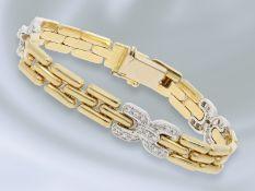 Armband: dekoratives, goldenes Armband mit Diamantbesatz, ca. 0,3ct Ca. 18cm lang, ca. 8mm breit,