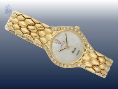 Armbanduhr: edle, goldene Damenuhr der Marke Vicence mit Brillantbesatz, 18K Gelbgold Ca. 51,8g,