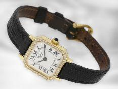 Armbanduhr: Chopard, vintage Schmuckuhr mit Diamantbesatz, 18K Gold Ca. 20 x 20mm, 18K Gelbgold,