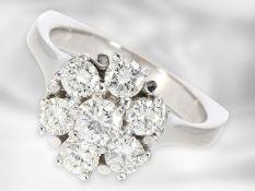 Ring: sehr dekorativer vintage Brillantring, insgesamt ca. 1,53ct, 18K Gold Ca. Ø17,5mm, RG55,