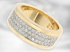 Ring: attraktiver moderner Gelbgoldring mit Brillanten, ca. 0,59ct, 18K Gold Ca. Ø17,5mm, RG55,