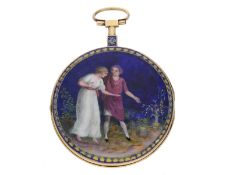 Taschenuhr: außergewöhnliche große Gold-/Emaille-Spindeluhr mit feinster Lupenmalerei, Gregson