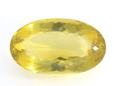 Citrin: außergewöhnlich großer, ovaler, intensiv gelber Citrin von 253ct