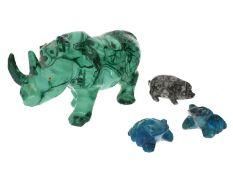 Figur/Schnitzerei: Konvolut aus kleinen Steinskulpturen, Malachit, Jaspis und Chrysokoll