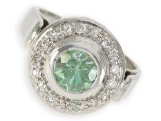 Ring: dekorativer Weißgoldring mit interessantem Farbstein und Diamanten, 14K Gold