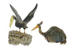 Figur/Schnitzerei: 2 geschnitzte Vogel-Skulpturen aus Labradorit und Pyrit, vermutlich aus dem Me