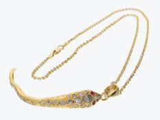Kette/Collier: handgefertigter massiver vintage Schlangenanhänger mit Rubin- und Diamantbesatz u