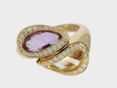 Ring: dekorativer italienischer Citrin/Amethystring mit Brillanten, 18K Gelbgold, Marke Superoro<