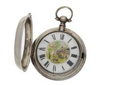 Taschenuhr: englische silberne Doppelgehäuse-Spindeluhr mit Emaillemalerei, bekannter Uhrmacher,