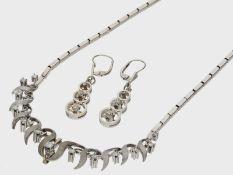 Kette/Collier/Ohrschmuck: sehr dekoratives vintage Schmuck-Set mit Brillant-/Diamantbesatz, 14K W
