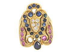 Ring: ausgefallener Saphir/Rubin/Brillant-Goldschmiedering, alte, vermutlich unikate Handarbeit,