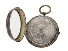 Taschenuhr: silberne englische Repoussé-Doppelgehäuse-Spindeluhr, signiert Jn. Bradford, London