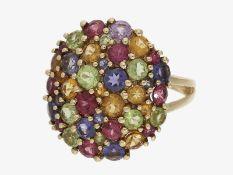 Ring: dekorativer, alter Cocktail/Goldschmiedering mit unterschiedlichen Farbsteinen