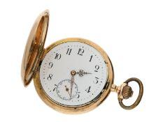 Taschenuhr: 14K Goldsavonnette, System Glashütte No. 307884, inkl. 14K Gold Uhrenkette, ca. 1920