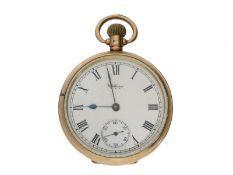 Taschenuhr: amerikanische goldene Taschenuhr der Marke Waltham, gefertigt für den englischen Mar