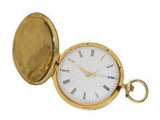 Taschenuhr: frühe Goldsavonnette mit Schlüsselaufzug, signiert Geneve No. 51596, ca. 1850