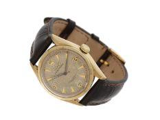 Armbanduhr: interessantes Rolex Bubble Back Chronometer REF. 6084 in 14K Gold und Tropical Honeyc