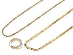 Kette/Collier/Ring: 2 vintage Goldketten und 1 Tricolor-Goldring