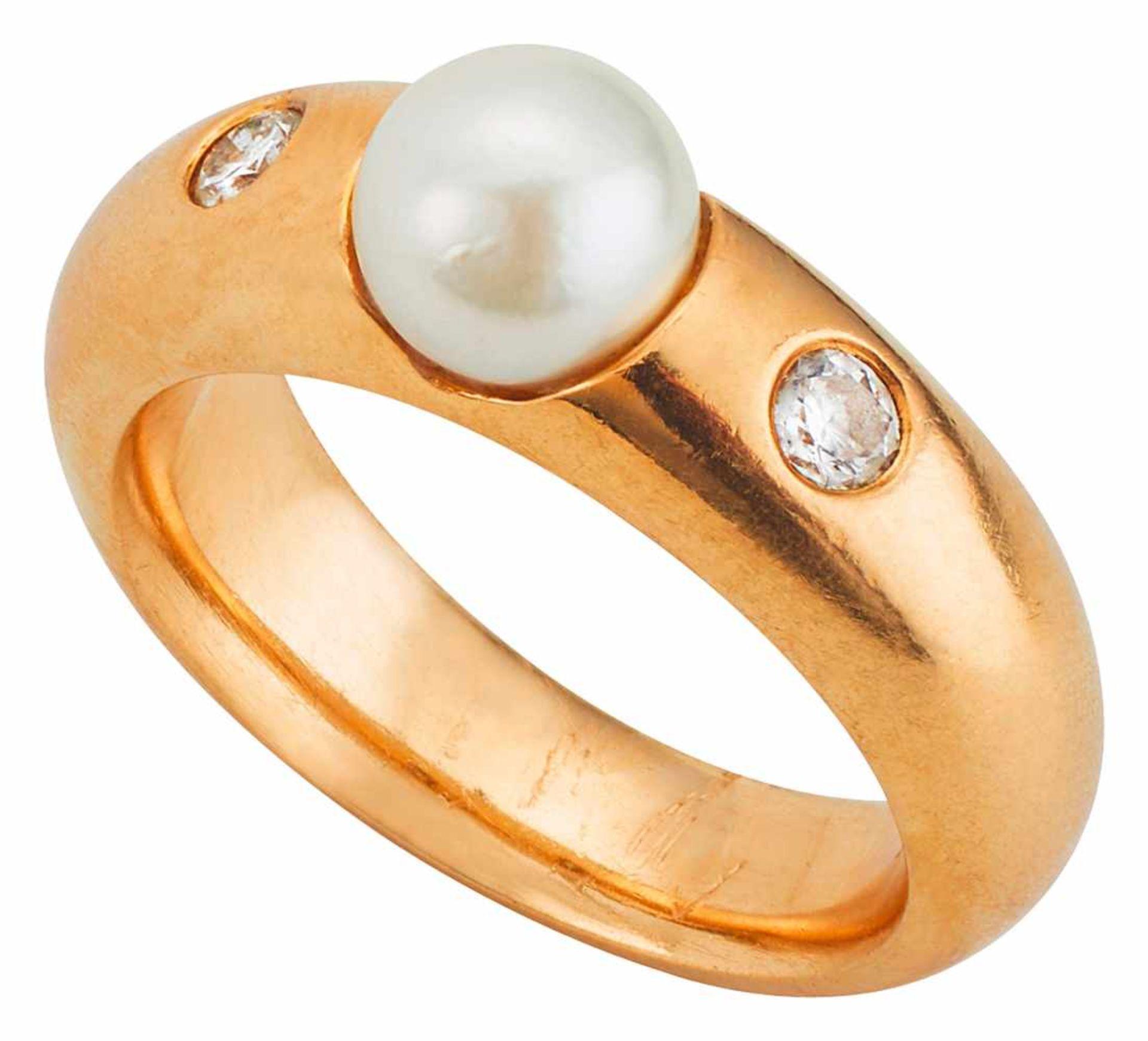 Ring mit Südseeperle und Brillanten