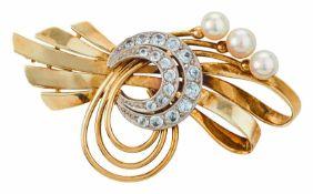 Schleifenbrosche mit weißen Saphiren und Perlen