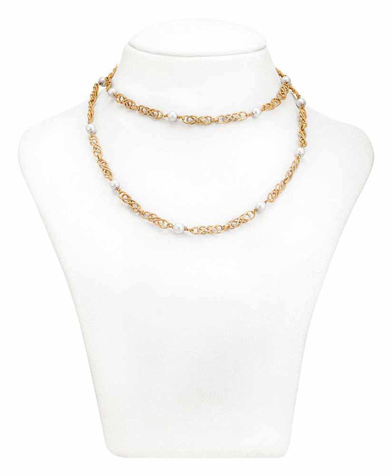 Art Déco Goldkette mit Perlen