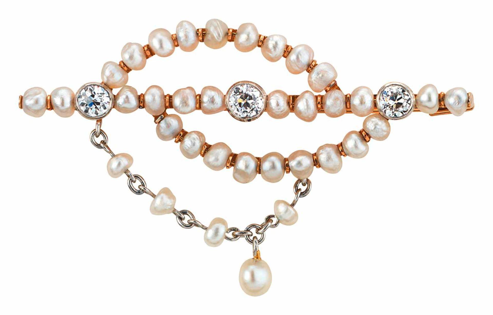 Stabbrosche mit Perlen und Diamanten