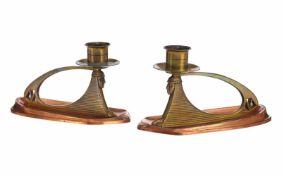 Paar Art Déco Kerzenhalter mit Sphingen