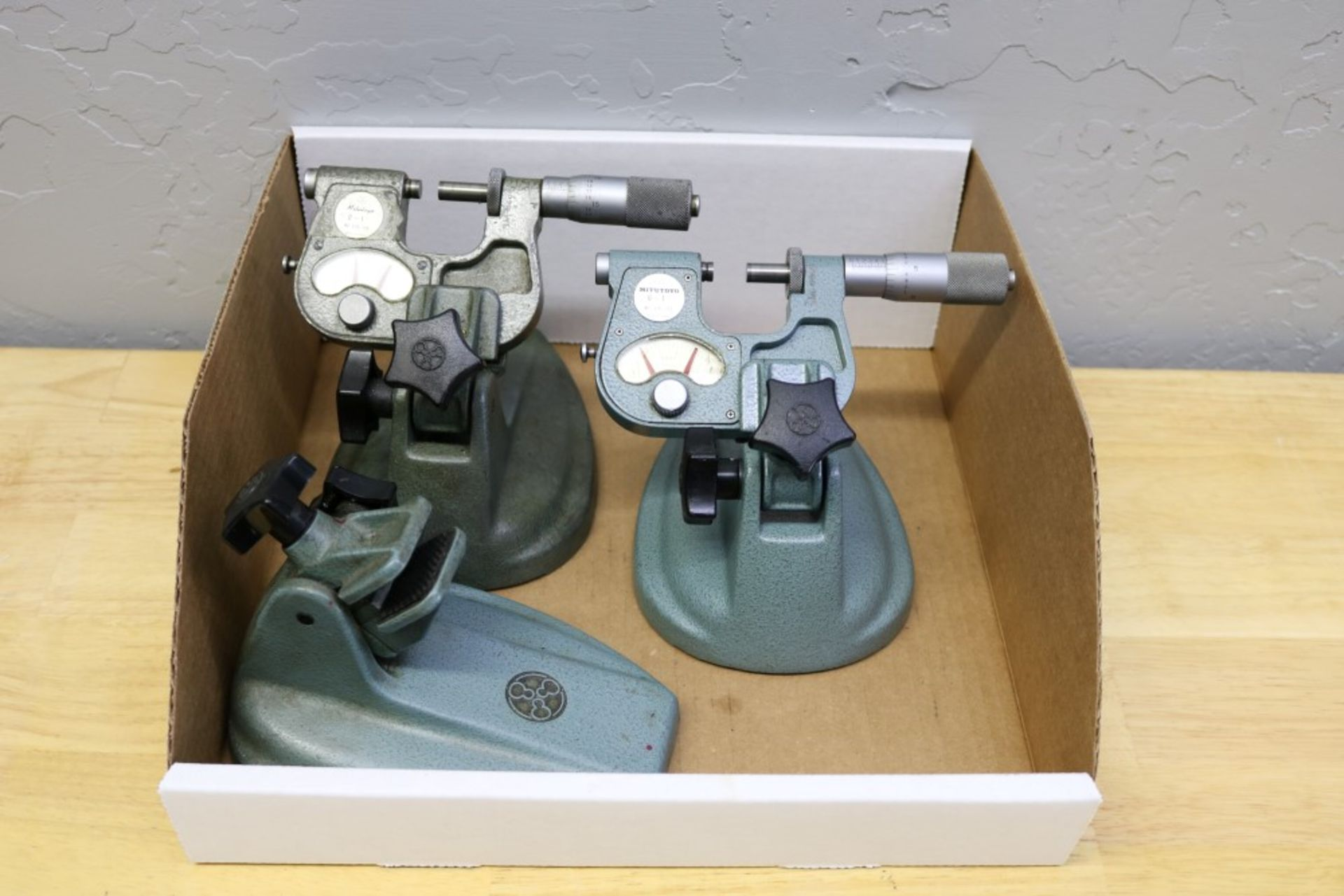 Lot 28 - (2) Mitutoyo OD Indicating Micrometer with Stand Includes Extra Micrometer Stand