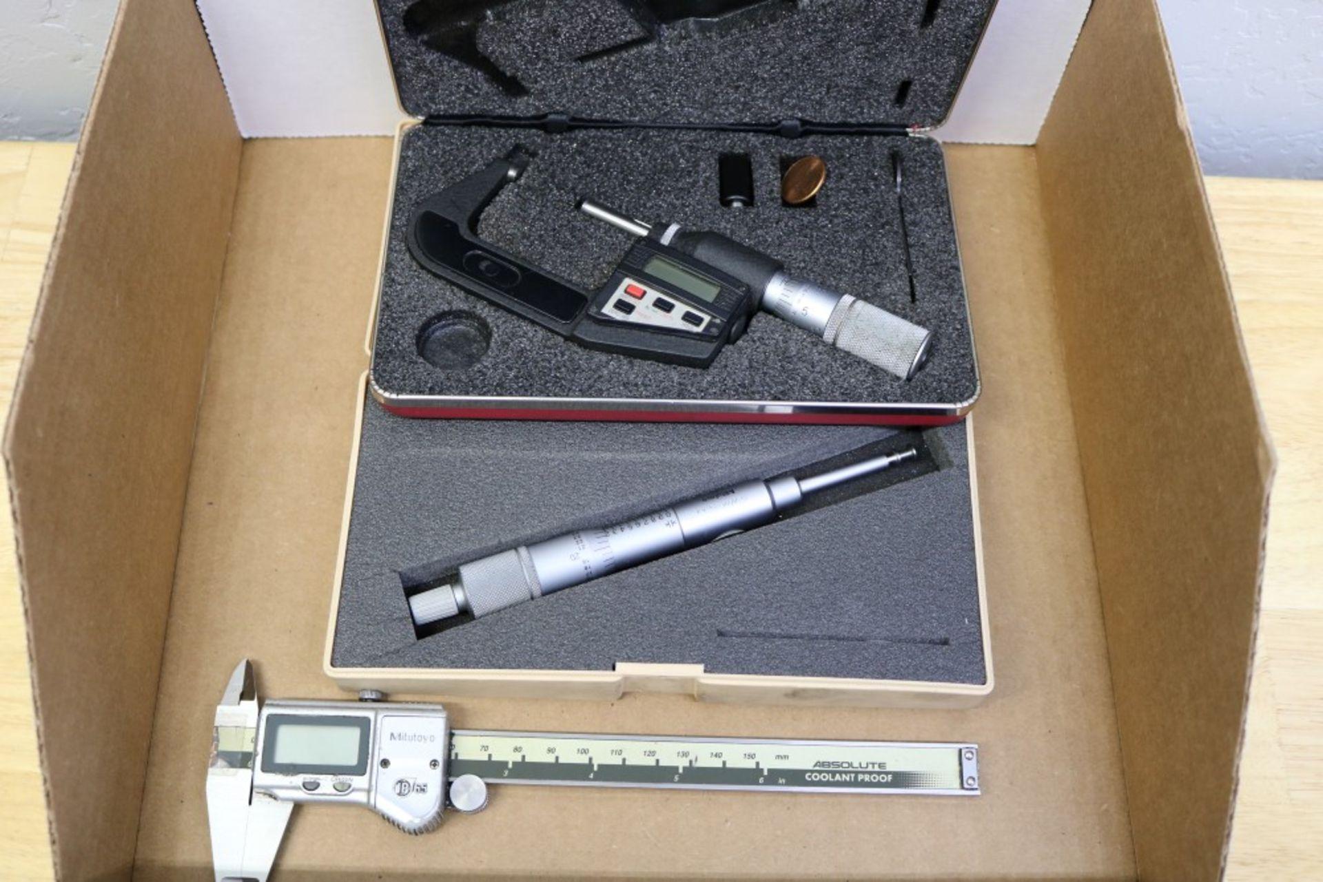 "Lot 18 - Starrett 1-2"" OD Micrometer, Mitutoyo 0-1"" ID Groove Micrometer, Mitutoyo Absolute Coolant Proof"