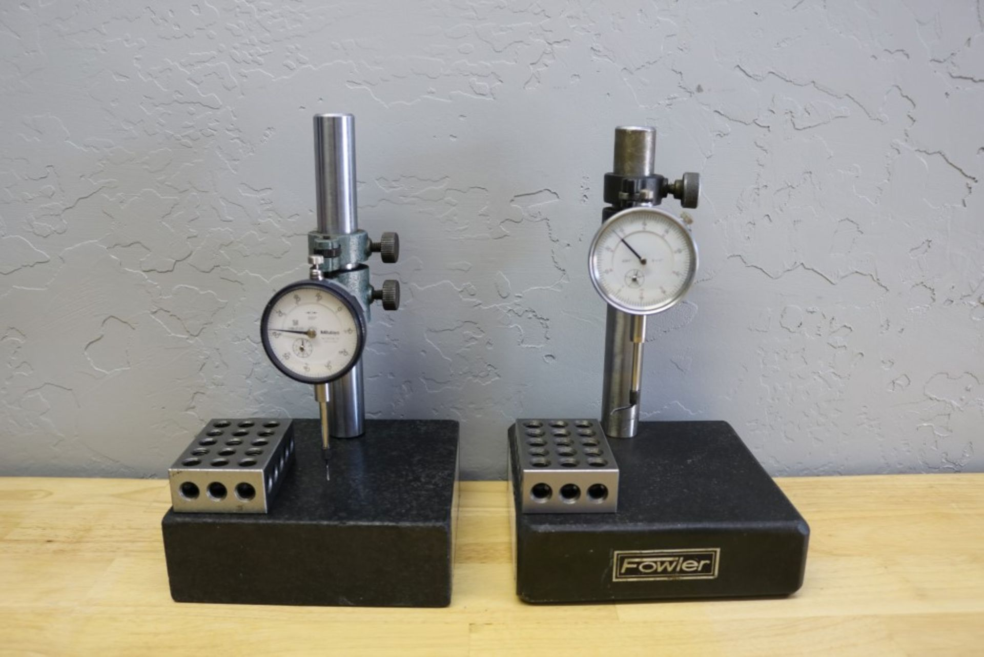 "Lot 32 - (2) Height Stands with Granite Surface Plates, Mitutoyo 1"" Drop Gage and No Namer 1"" Drop Gage"