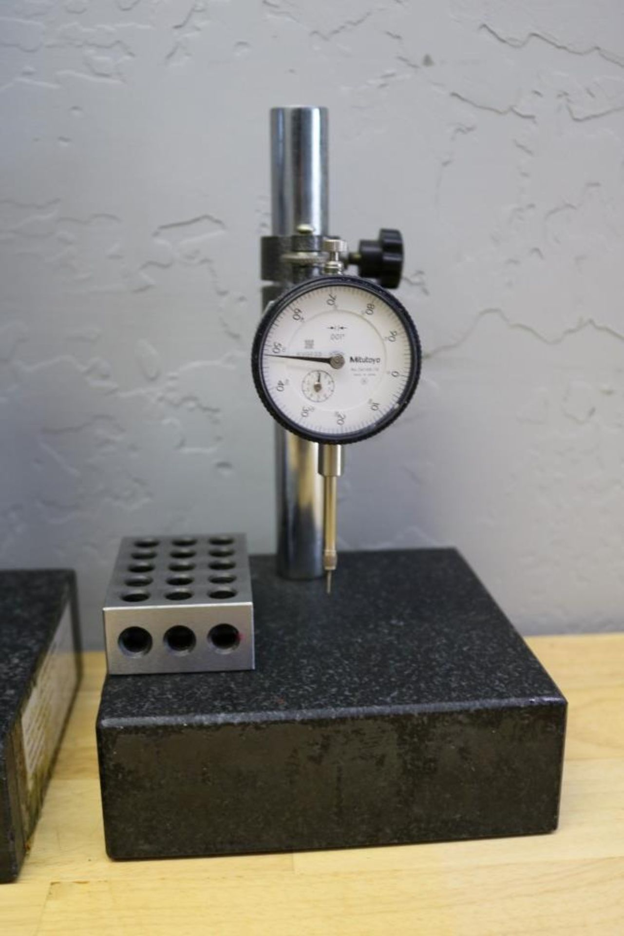 "Lot 34 - (2) Height Stands with Granite Surface Plates, Mitutoyo 2"" Drop Gage and Mitutoyo 1"" Drop Gage"