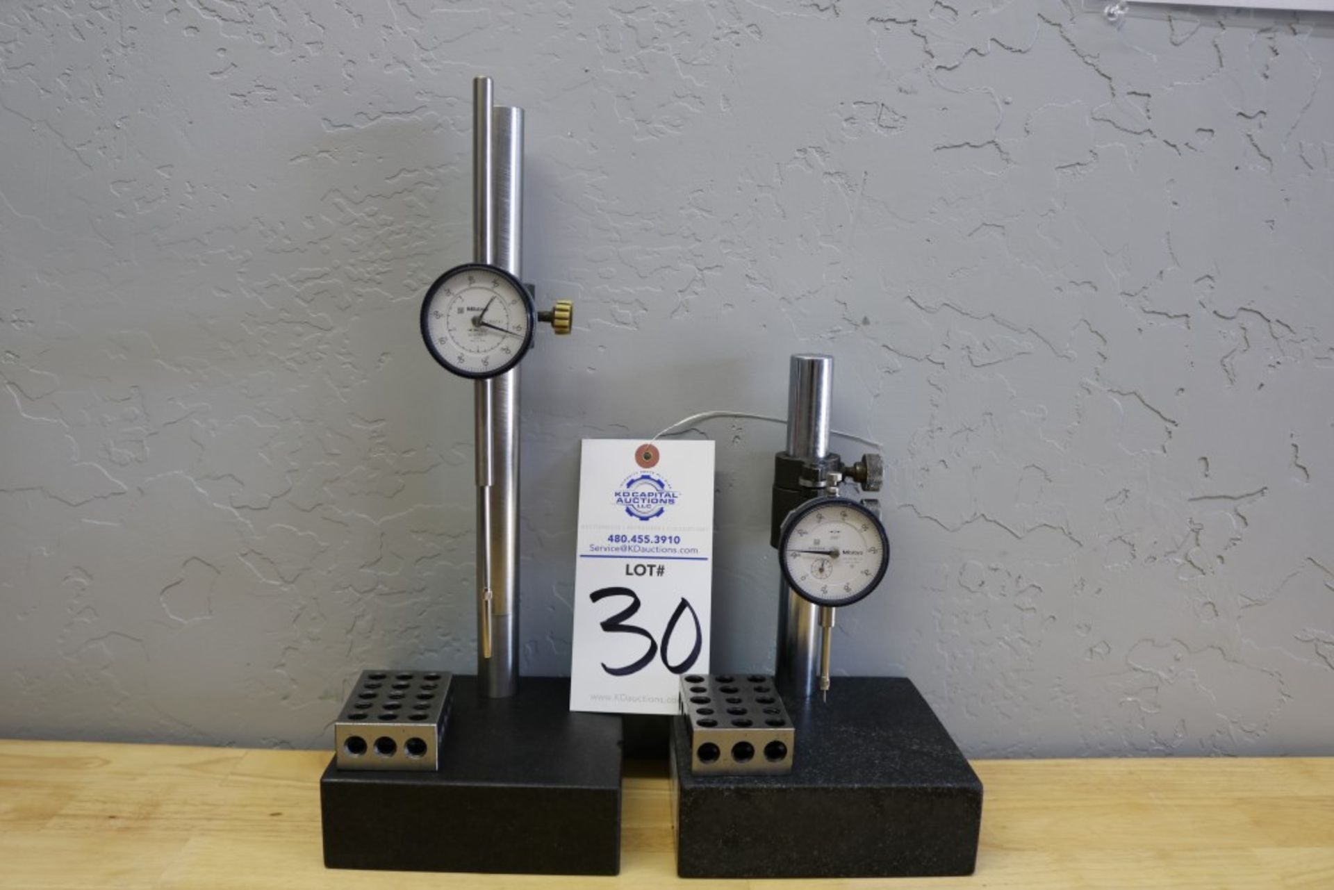 """Lot 30 - (2) Height Stands with Granite Surface Plates, 2"""" Mitutoyo Drop Gage and 1"""" Mitutoyo Drop Gage and"""