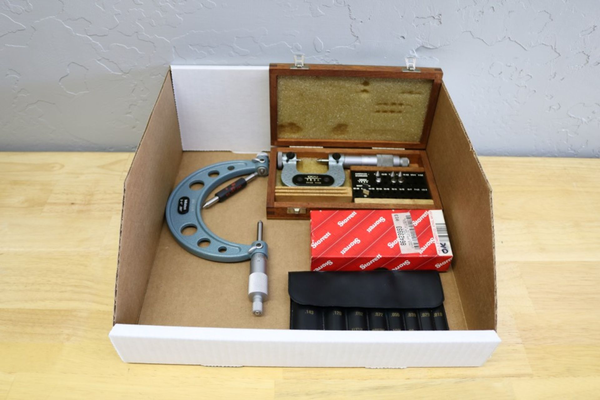 "Lot 10 - Starrett 1-2"" OD Thread Pitch Micrometer, Tesa OD Thread Pitch Micrometer 0-1"", Mitutoyo 3-4"" OD"