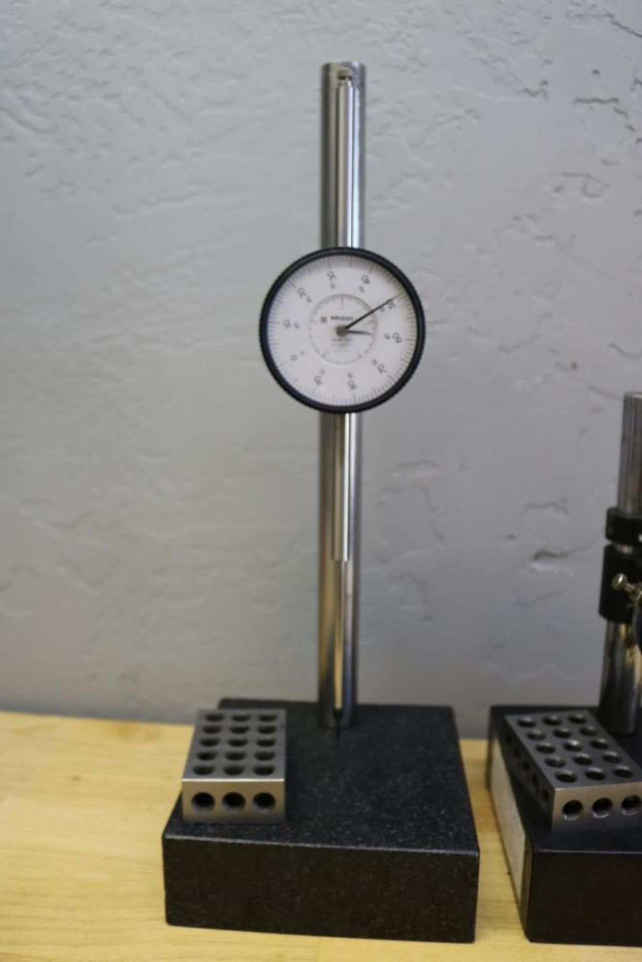 """Lot 31 - (2) Height Stands with Granite Surface Plates, Mitutoyo 2 1/2"""" Drop Gage and Mitutoyo 1"""" Drop Gage"""