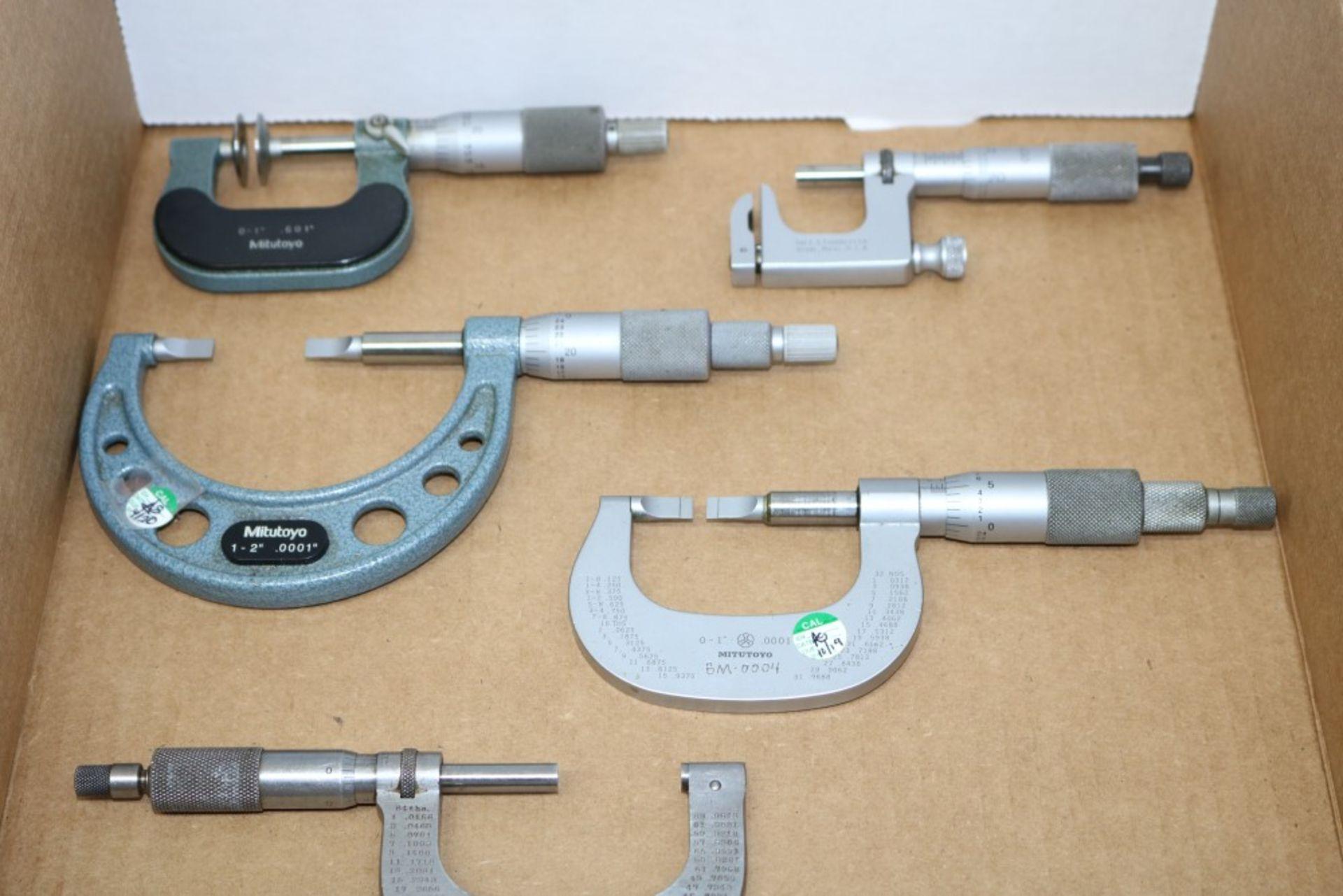 "Lot 9 - Mitutoyo 0-1"", 1-2"" Blade Micrometer, Mitutoyo 0-1"" Pan Micrometer, Brown & Sharpe 1-2"" Od"