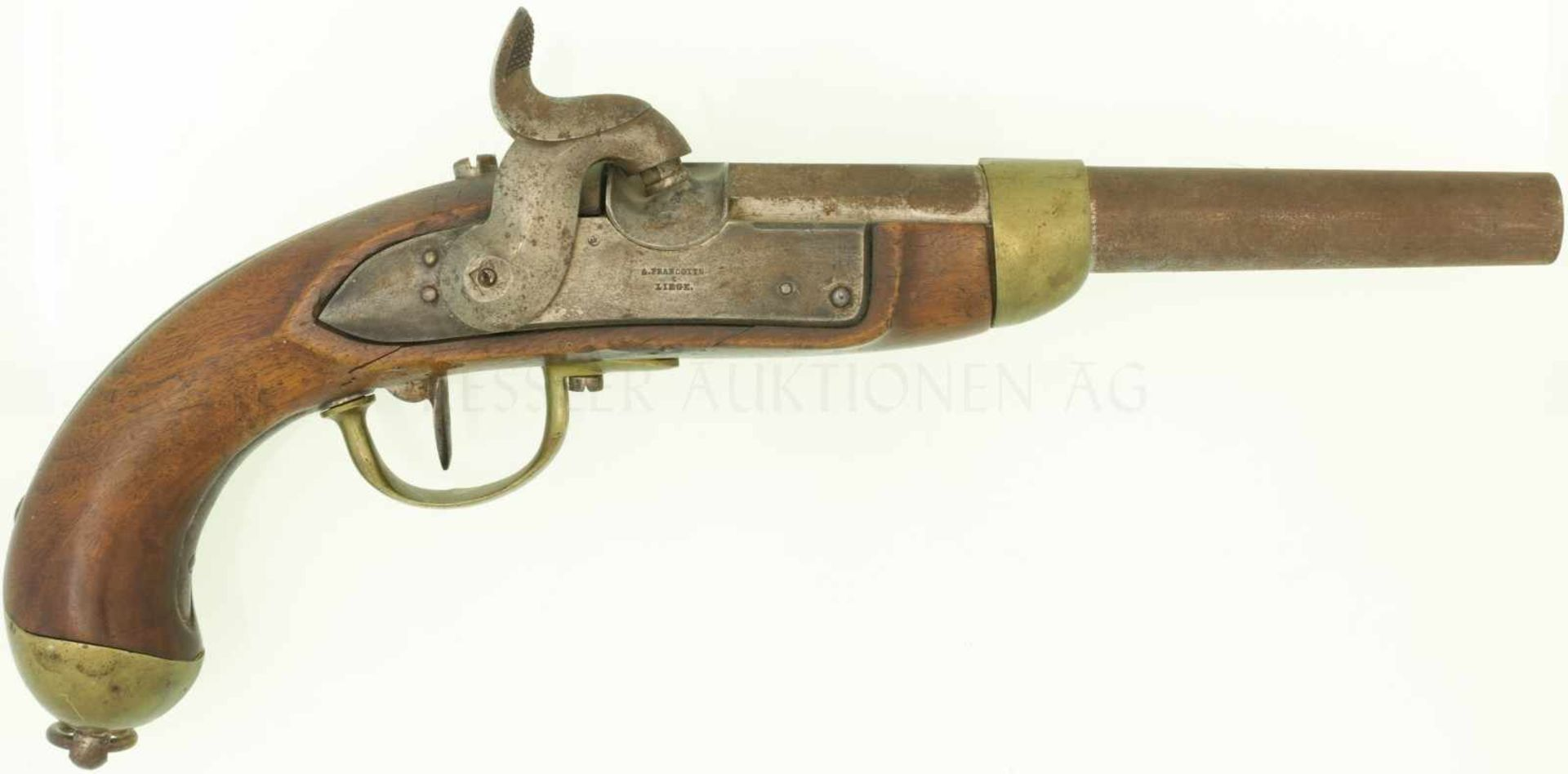 Perkussionspistole, Mod. 1842, Hersteller A. Francotte, Liege. Kal. 17.6mm