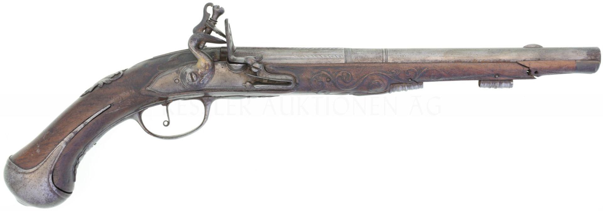 Steinschlosspistole, Lazarino Cominazzo, Kal. 17.6mm Glatter, abgestufter Rundlauf mit Linsenkorn,