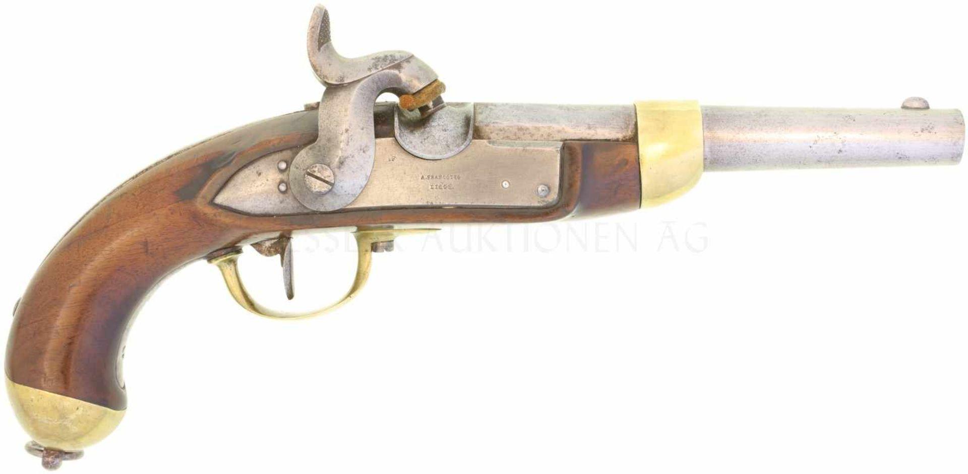 Perkussionspistole, Mod. 1842, Hersteller A. Francotte à Liege. Kal. 17.6mm<