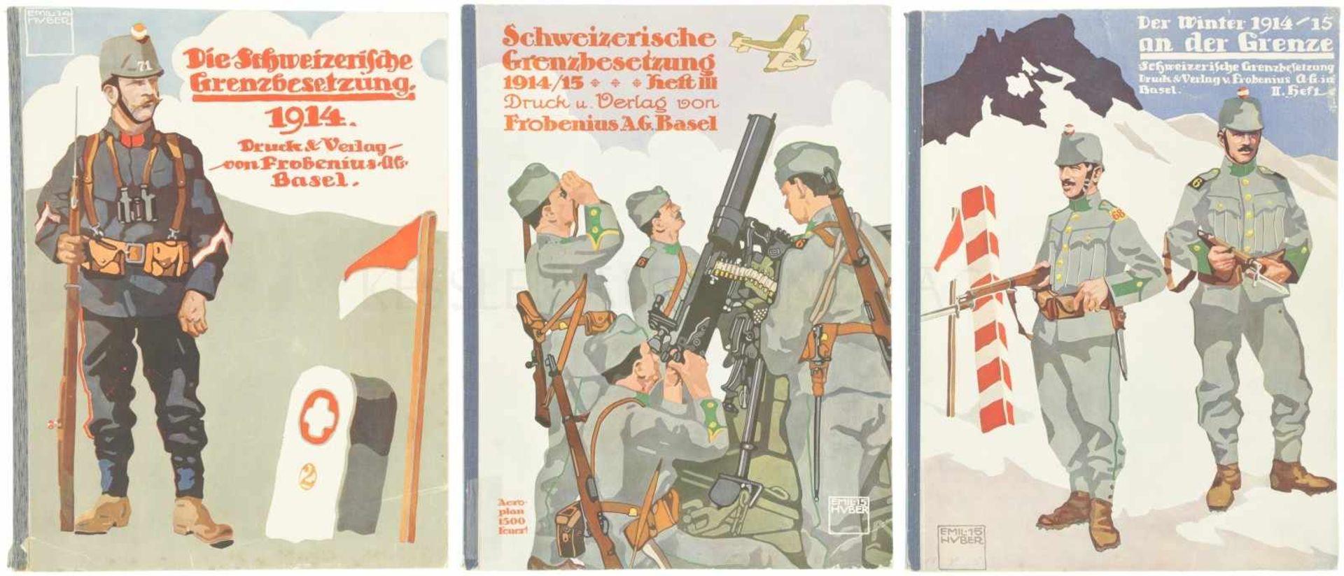 Konvolut von 3 Heften Schweizerische Grenzbesetzung 1914/1915