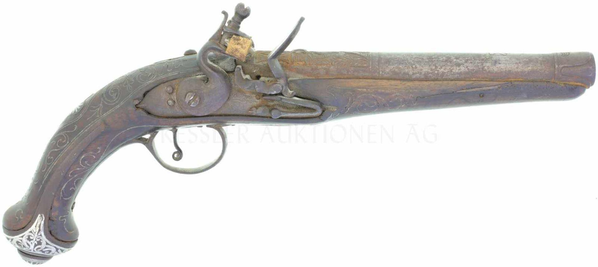 Steinschloss-Reisepistole Italienisch für den arabischen Markt, Kal. 14mm<