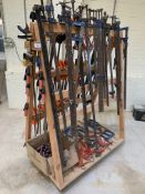A Good Selection of F Clamps, G Clamps & ratchet bar clamps