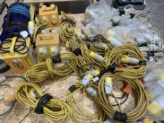 A large quantity of extensions, cable, transformers etc as per photo