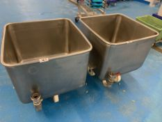 2 x Orbital stainless steel Tote Bins 670 x 670 x 50 mm fitted with drainer pipe