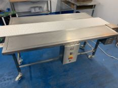 Conveyor with front and back stainless steel run off tables 200 x 34 cm