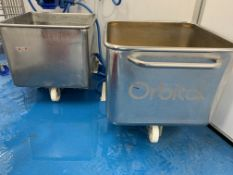 2 x Orbital stainless steel Tote Bins 670 x 670 x 50 mm